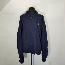 Vintage Polo Ralph Lauren Mens Microfiber Zip Jacket XXL Navy Blue Harrington