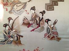 antique chinese qing dynasty silk embroidered panel of ladies musicians picture