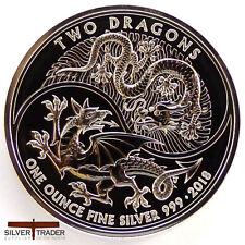 2018 1oz Two Dragons British 1 ounce Silver Bullion Coin unc: