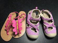 Two Pairs Used hiking water OshKosh Gimboree girl youth purple shoes sandals 12