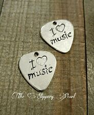Guitar Pick Charms Pendant Antiqued Silver Guitar Pick Word Charms I LOVE MUSIC