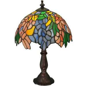 Meyda Lighting 15'H Tiffany Laburnum Accent Lamp, Orange Purple/Blue 59 - 133348