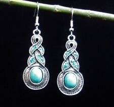 BEAUTIFUL Turquoise Drop Earrings with Turquoise Blue Gems