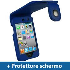 Blu Eco Pelle Custodia per Apple iPod Touch 4G 8/16/32/64GB Case Cover