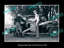 OLD POSTCARD SIZE PHOTO OF MICHIGAN STATE POLICE FORD PATROL CAR c1950