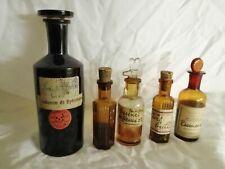 Pharmacie lot de 5 anciens et rares flacons verre brun 3 bouchons verre et deux