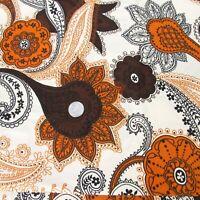 Vintage 70s Schwartz Liebman Brown Orange Floral Paisley Mandala Fabric 4 Yards