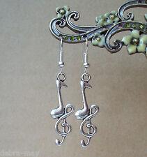 Silvertone Treble Clef Music Note Charm Dangly Earrings