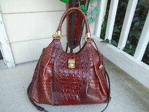 Authentic Brahmin Pecan Elisa Satchel Handbag brown cro XL