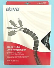 Ativa Cable Management Black Tube Cord Organizer 77.6 inches CM07B 207-694
