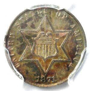 1871 PROOF Silver 3 Cent Coin 3CS - PCGS Proof UNC Details (PF / PR) - Rare!