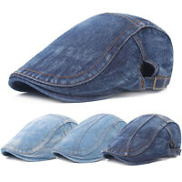 Men Denim Blue Peaked Ivy Cap Golf Driving Flat Cabbie Newsboy Beret Hat CS223