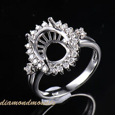 9x11MM Oval Cut Solid 14K White Gold Natural Diamond Semi Mount Engagement Ring
