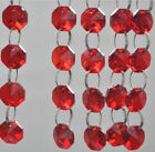 5Pcs Chain Red 14MM Octagon Crystal Beads Chandelier Lamp Parts Prism Ornament