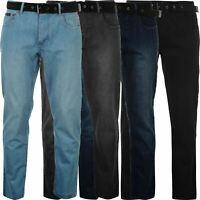 Mens Belted Denim Jeans Straight Leg Regular Fit Pierre Cardin Pants Big Tall