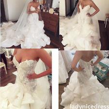 Mermaid Lace Organza Long Train Bridal Gown Beaded V-Neck Garden Wedding Dress