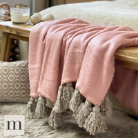 Luxury Large Soft Woollen Feel Blush Pink / Grey Tassel Sofa Bed Blanket Throw