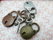 Vintage Antique Style Small Padlock Key Lock (Assorted Color) 3 pcs
