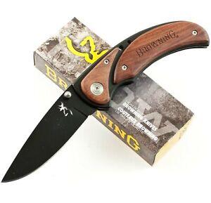 Browning Black Cocobolo Wood Onlay Handles Framelock Pocket Knife BR068