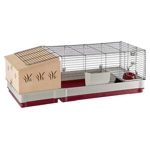 Ferplast Krolik 140 Plus Extra Large Indoor Metal Pet Rabbit Cage w/ Wood Hutch