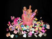 Huge Mixed Lot of 2Barbies 1ken, and doll Accessories1.5lb food plates bags dog
