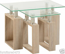 Oak Effect / Glass Nest of Tables (SEt Of 2) W60cm x D40cm x H45cm MILLY