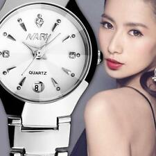 Ladies Luxury Nary Quartz White & Crystal Face Date Stainless Steel Wrist Watch.