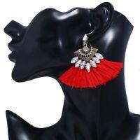 Retro Bohemian Fringe Long Tassel Stud Drop Dangle Earrings Women Jewelry Gift