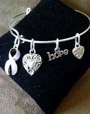 Expandable Bangle Charm Bracelet  Epilepsy Awareness Lavender Ribbon