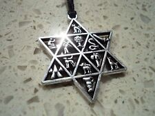 New Silver Star of David 12 Tribes Necklace Pendant Metallic Charm In Black Cord