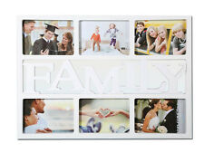 Stylish Family Photo Picture Frame Holds 6 Photos Aperture Multi Collage White