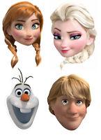 Frozen Official Anna Elsa Olaf Kristoff Disney 2D Card Party Face Masks - 4 Pack