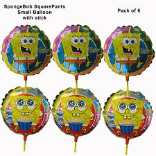 SPONGEBOB SMALL ROUND PARTY BALLOON ON STICK LOOT BAG FILLERS - PACK OF 6