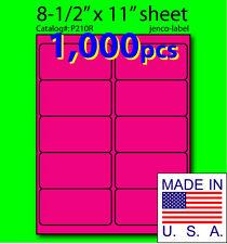 P210R, 1,000 Pink Fluorescent Address Labels, 4x2