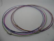 "10  Memory Wire Necklace~Choker~Mixed Colours with Screw Clasps~17""-18"" 45cm"