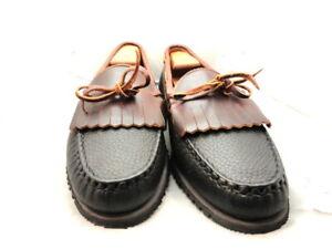 """Allen Edmonds Mens Shoes """"Nashua"""" Tassel Loafers Black w/ Brown Trim 10.5 D (173"""
