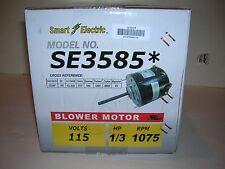 1/3 HP Furnace Blower Motor-115V-1075 RPM-Reversible-4.5Amp-3 Sp.Smart Elec.New