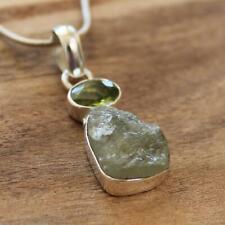 100% 925 Solid Sterling Silver Rough Peridot Semi Precious Natural Stone Pendant