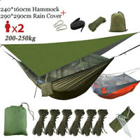 2 Person Camping Hammock + Mosquito Net Mesh+Rain Fly Camping Tent Tarp Cover US
