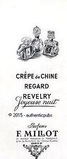 PUBLICITE F. MILLOT CREPE DE CHINE REGARD REVELRY JOYEUSE NUIT DE 1949 FRENCH AD