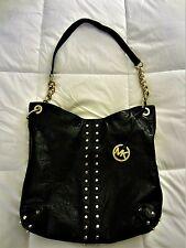 Michael Kors  Uptown Astor Pebbled Leather Large Hobo Shoulder Bag Black & Gold
