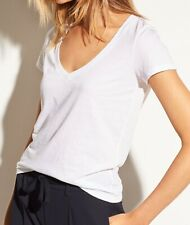 New Vince Essential V-Neck Cotton Short Sleeve Tee T-shirt Top White XS