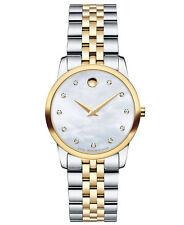 Movado Museum SWISS Diamond Two Tone Stainless Steel Ladies Watch (0606613)