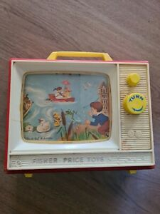 VINTAGE FISHER PRICE TV TWO TUNES TWO PICTURE Good Condition Working.