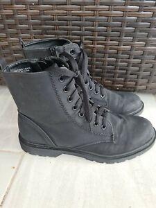 Primark Black Lace Up Ankle Boots Size UK 6 EU 39