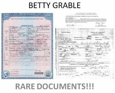 Betty Grable DEATH CERTIFICATE + BONUS Research Document,  Hot Sexy Star
