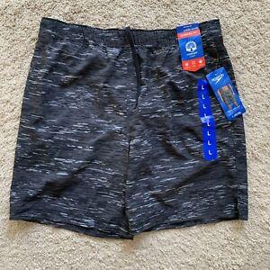 NWT Speedo Board Shorts Mens Large 34/36 Black Swim Trunks Beach SS54