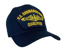 GOLD DOLPHINS - U.S. Navy Submarine Hat Blue Ball Cap - 'QUALIFIED' Officer