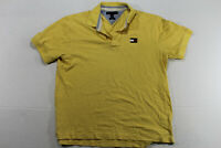 Tommy Hilfiger Polo Shirt Yellow Short Sleeve Men's Size XL SLIM FIT Big Logo