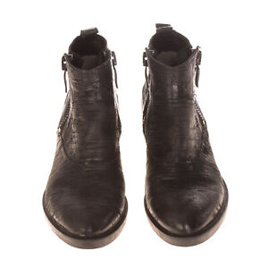 RRP €170 JANET & JANET Leather Ankle Boots EU 36 UK 3 US 6 Black Textured Zipped